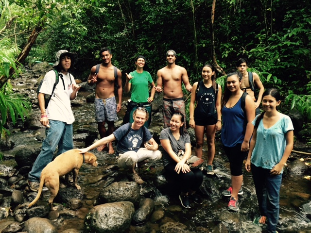 Students at Kapi'olani Community College explore issues of sustainability, learning to do stream assessments in their Teagle Learning Community combining English 100 and Biology 124, 'Decade Zero: Understanding Climate Disruption'