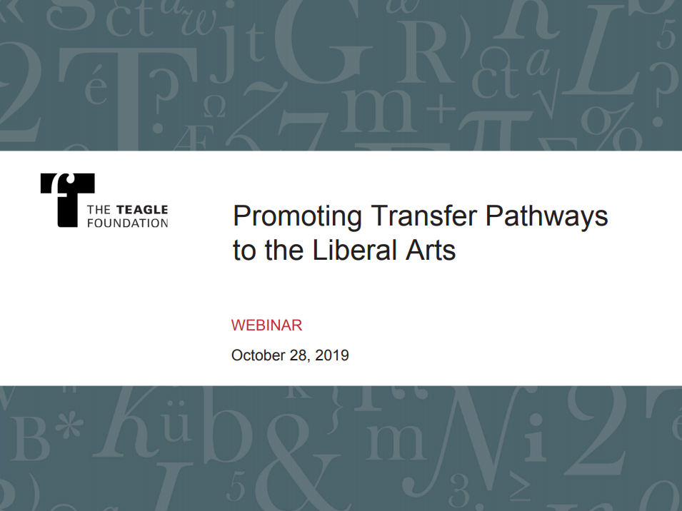 Transfer Pathways to the Liberal Arts (Webinar Recording)